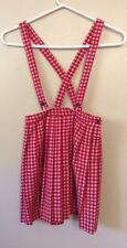 Japanese Mori Girls Artistic Red Plaid Retro Pop Suspender skirt Sweet Lolita
