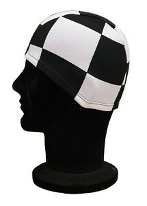 ELASTICATED Adults Polyester Stretchy Swimming Hat Black White Large Squares Hat