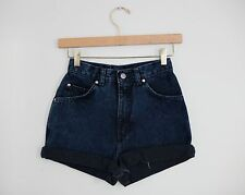 Vintage LEVI'S Dark Navy Blue High Waisted Cut Offs Cuffed Denim Shorts - 23/24