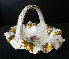 Antique Von Schierholz Dresden White Porcelain China Large Hand Painted Basket