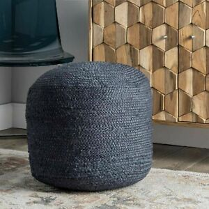 Pouf Cover Jute Braided Style Ottoman Cover Home Decor Modern Living Foot Stool