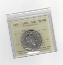 **1908**, ICCS Graded Canadian Silver 50 Cent, **VF-30 Polished**