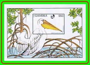 GAMBIA 1988 PELICAN BIRD imperforated S/S MNH CV$12.50  (L-2)