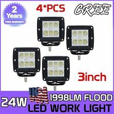 4X 24W 3Inch CREE Flood LED Pod Lights For Truck Jeep ATV 4WD 4x4 Off-road Suv