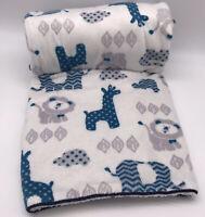 SL Home Fashion SAFARI Baby Blanket Sherpa Blue Giraffe Lion Elephant Lovey H4