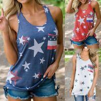Women Sleeveless Vest Patriotic Striped American Flag Print Tank Top Shirt