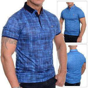 Mens Casual Polo Shirt Unique Design Soft Cotton Blue Metal Badge Fitness XS-M