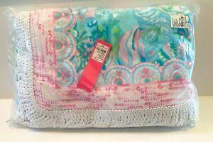 "NWT Lilly Pulitzer Oversized Beach Towel 64""x64"" BLUE BIZA Aqua La Vista Print"