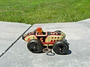 MARX Tin Litho #5 Wind Up Race Boat Tail Race Car with Driver c 1920s