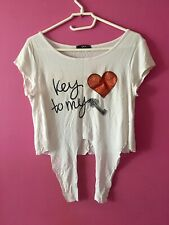 Ladies Quiz Heart Crop T Shirt Size 10