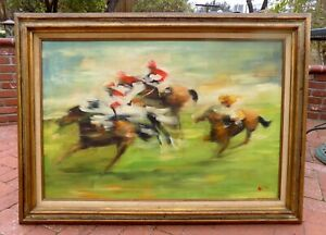 Racehorses Original Painting Horse Racing Art 24x35 LONG BEACH, CA Framed