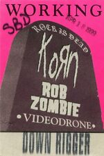 KORN and ROB ZOMBIE 1999 Rock Concert Tour Backstage Pass!!! Authentic PERRI