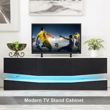 47'' Floating LED TV Stand Wall Mount Console Furniture w/ 3 Large Drawers Black
