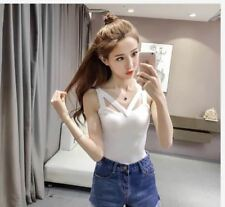 SALE SLEEVELESS KNITTED TOP (DZ) - WHITE