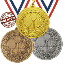 BADMINTON MEDAL 50mm EMBOSSED TOP QUALITY, WITH FREE RIBBON, 3 COLOURS