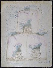 BERNARD BERTHOIS-RIGAL Original Carborundum Etching, La Triple Alliance, Signd #