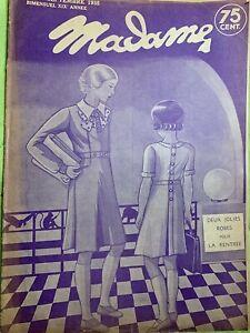 Antique French MADAME Magazine Sept 5,1935 - Needlecraft - knitting