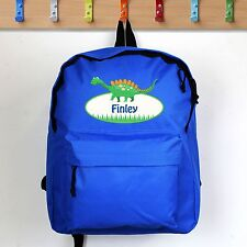 PERSONALISED Childrens Bag. Blue DINOSAUR Backpack. School KIDS Childs Boys Gift
