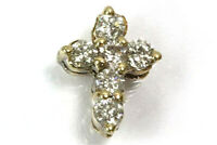 0.3 ctw Natural Diamond (G-H, SI) Solid 14k Yellow Gold Tiny Cross Pendant 10 MM