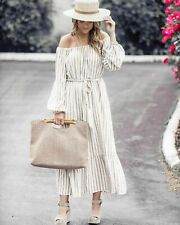 H&M Oversized White Beige Stripe Long Midi / Maxi Dress Belt Sz UK 16 18