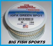 WOODSTOCK BRAIDED DACRON IGFA Fishing Line Green Spot 30lb-150yd FREE USA SHIP!