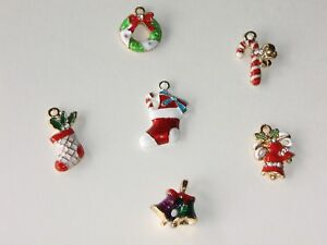 Mini Christmas Ornaments Gold Metal Enamel Tiny Charm Pendant Wire Feather Tree