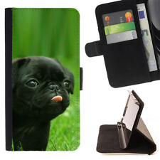 CUTE PUG DOG ANIMAL WALLET CASE COVER FOR SAMSUNG GALAXY S8+ (S8 PLUS)