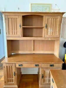 Antique Desk with Hutch and Matching Filing Cabinet