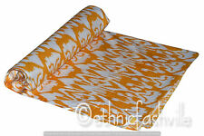 Indian Hand Block Print Fabric 3 Yard Yellow Ikat Sewing Material Craft Art