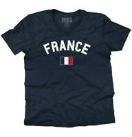France Flag World Cup Soccer French National Flag Pride V-Neck T-Shirt