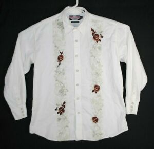 Brooks and Dunn Panhandle Slim Men's Western Snap Shirt size XL Embroidered Rose