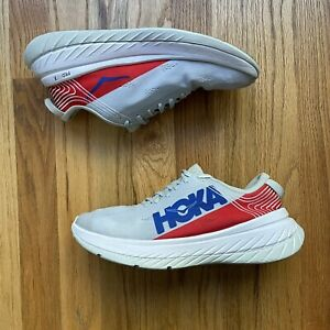 Men's Hoka One One Carbon X Road Running Palace Blue Red Gray White Shoes Sz 9.5