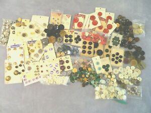 HUGH LOT Mixed Material Antique Vintage Buttons Plastic Celluloid Metal MOP Pea
