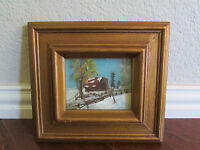 Vintage Oil Painting on Layered Glass Snowy Cabin Signed Tela