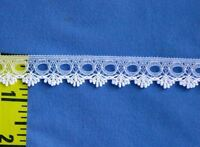 """Scalloped Lace Trim Beading Lace Edging 5/8"""" White 20 yds #W33"""