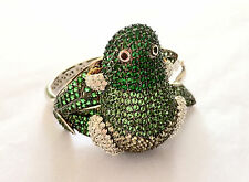 Anthropologie Crystal Bracelet Cuff Green Frog ONE OF A KIND Fashion Statement