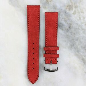 Suede Leather Watch Strap - Red - 18mm/20mm