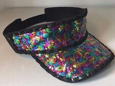 Arco iris lentejuelas visera de sol, sombrero. Festival, Glastonbury, Playa, Vacaciones, orgullo gay.