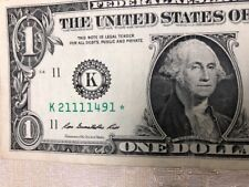 "ONE ✯ STAR NOTE $1 Dollar Bill CIRCULATED DALLAS FRB SOLID QUAD with 5 ""1""s"