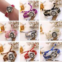 Women's Knitting Braided Rope Watch Chain Winding Analog Quartz Movement Watches