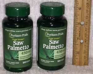 TWO Saw Palmetto, from Puritan's Pride. 200 capsules (total), 450 mg each