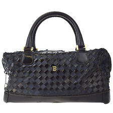 Authentic BALLY Logos Hand Bag Leather Navy Blue Black Made In Italy 03D797