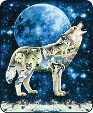 Queen Size Arctic Wolf Moon Collage Art Mink Faux Fur Blanket Super Soft Full