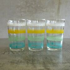3 Mid Century Drinking Glasses 180mls Small Vintage 1960s Teal Mint Yellow