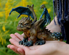 Grumpy Hatchling Dog Dragon Baby Gargoyle Fully Painted Resin Sculpture