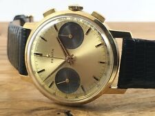 ZENITH 18ct Gold G179 Chronograph 146 DP Rare Golden Panda G1714 Vintage 1960s