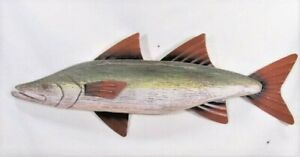 Fish Rustic Wood w/Metal Fins Hand Crafted & Painted Wall Art (Green)