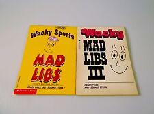 2 Vintage Wacky Mad Libs Books Unused III Sports Educational Party Travel School
