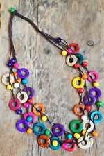 BOHO / LAGENLOOK 70'S RETRO STYLE WOODEN THREE STRAND STATEMENT NECKLACE