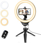 """UBeesize 10"""" Selfie Ring Light with Tripod Stand & Cell Phone Holder,..."""